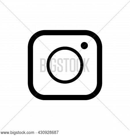Simple Bold Camera Sign Thin Line Illustration Icon In Black, Outline Flat Style Pictogram Retro Sty