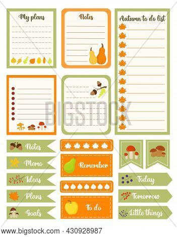 Set Of Autumn Planners And To Do Lists. Template For Agenda, Planners, Check Lists, And Other Statio
