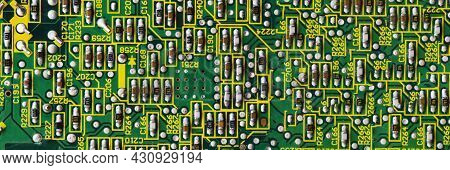 Panoramic Banner Green Printed Circuit Board Pcb With Chip Texture Or Background. Electronic Embedde
