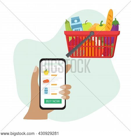 Online Grocery Shopping: User Ordering Groceries Online Using A Mobile App. Hand With Phone Makes On