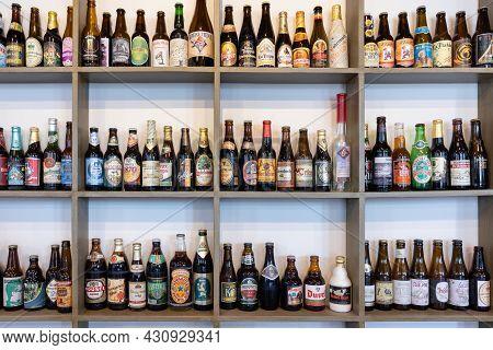 Melderslo, The Netherlands - June 19, 2021: Historic Open Air Museum With Rack Of Several Beer Bottl