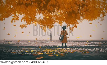 Young Woman Standing Under The Autumn Tree Looked At The Man In The Distance, Digital Art Style, Ill