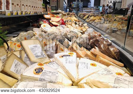 Morlaix, France - August 25 2021: Cheese Department In A Supermarket.