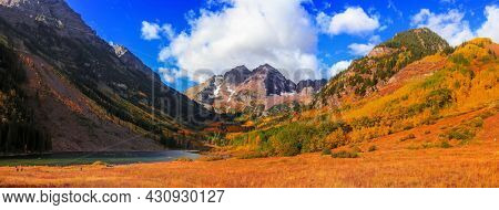Panoramic view of scenic Maroon bells peaks near Aspen, Colorado