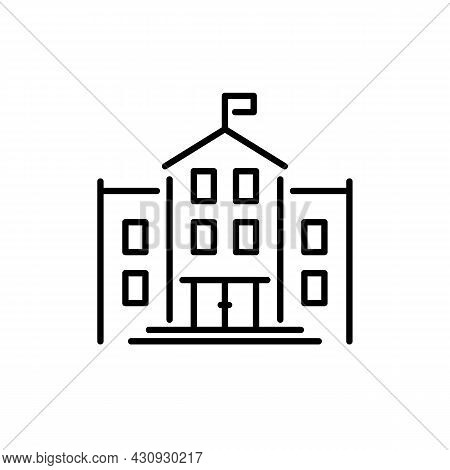 School Or College Black Icon. Large Residential Building With Flag, Architecture, High School, Unive