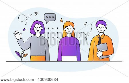 Group Of People Concept. Company Employees Stand Together. Effective Teamwork To Achieve Success. Co