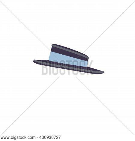 Vector Cartoon Flat Fashionable Woman Brimmed Hat.elegant Trendy Beautiful Ladies Accessory Cap Isol