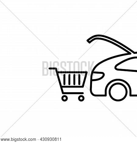 Shopping Cart Icon. Loading Purchases Into The Trunk Of A Car. Trendy Flat Isolated Outline Symbol S
