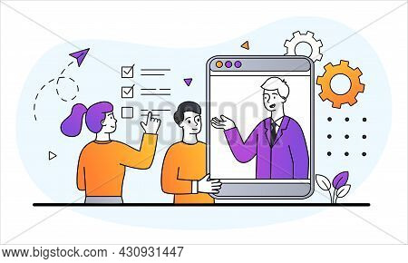Customer Support Concept. Man And Woman Ask Questions Hotline Operator. Help For Users Of Site Or Ap