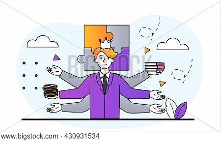Teamwork And Partnership Concept. People Connecting Puzzle Elements. Man With Six Hands Holds Coins
