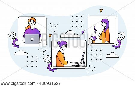 Working From Home. Women Sit In Apartment And Work On Laptop, Computer Or Phone. Online Video Confer