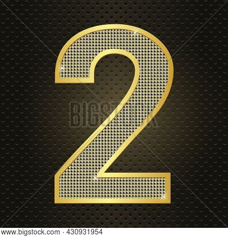 Vector Golden Number Two. Second Year Anniversary Celebration. Realistic Shining Gold Number 2 Isola