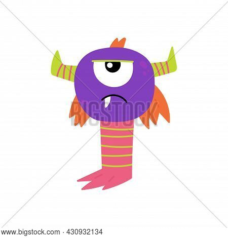Cartoon Furry Monster Isolated On White Background. Cute Monster Character. Design For Print, Hallow