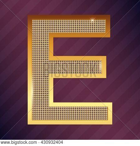 Golden Capital Latin Letter E Logo Vector