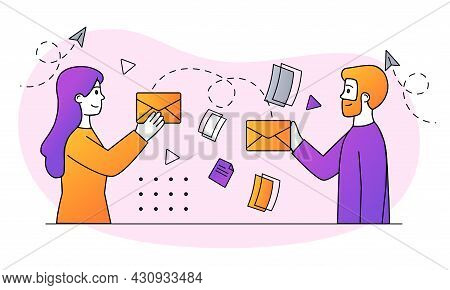 Support Service Concept. Man And Woman Send Emails To Customer Support Service Or Hotline. Help For