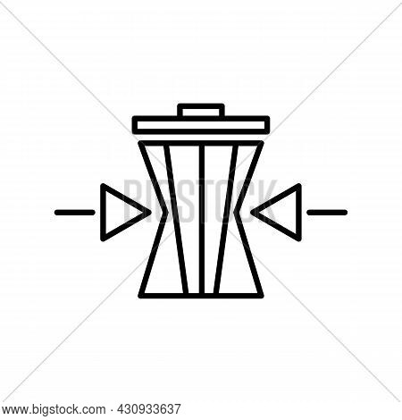 Recycling Or Zero Waste Black Icon. Arrows Squeeze Trash Can. Trendy Flat Isolated Outline Symbol Si