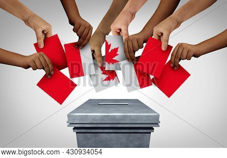 Canadian Vote Vote And Canada Voting Concept Casting Ballots At A Polling Station As The Democratic