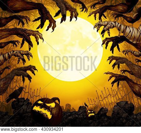 Halloween Border With Creepy Monsters Under The Moonlight With 3d Illustration Elements.