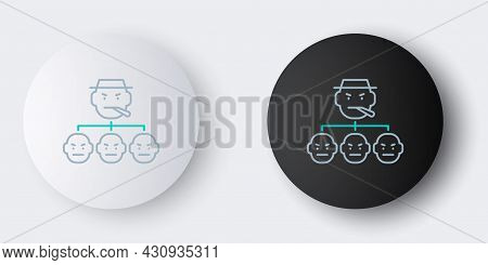 Line Mafia Icon Isolated On Grey Background. Boss And Gangsters. Colorful Outline Concept. Vector