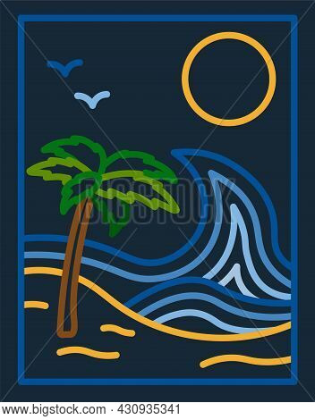 Beautiful Summer Landscape. Poster With Sea, Palm Tree And Sun In Line Art Style. Design For Social