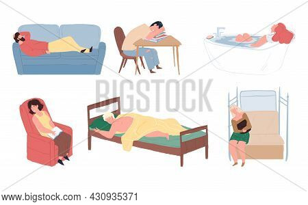 Set Of Vector Cartoon Flat Tired Characters Who Fall Asleep While Reading, Taking Bath, Traveling, I