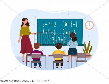 Maths Class Concept. Little Girl Solves Examples At Blackboard. Kids Learning Mathematics. Teacher E