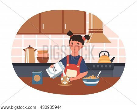 Cooking Breakfast Concept. Little Girl In Kitchen Pours Milk Into Cup And Eats Cereal. Delicious And