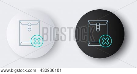 Line Delete Envelope Icon Isolated On Grey Background. Delete Or Error Letter. Cross On Message. Rej