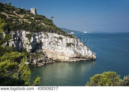 Medieval Watchtower On A Cliff, Apulia In Italy