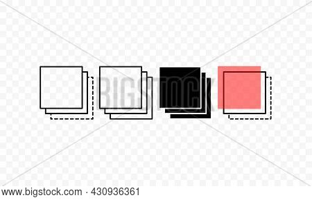Layer Line Icon Set. Layout Sign. Transparent Background. Trendy Flat Isolated Outline Symbol Can Be