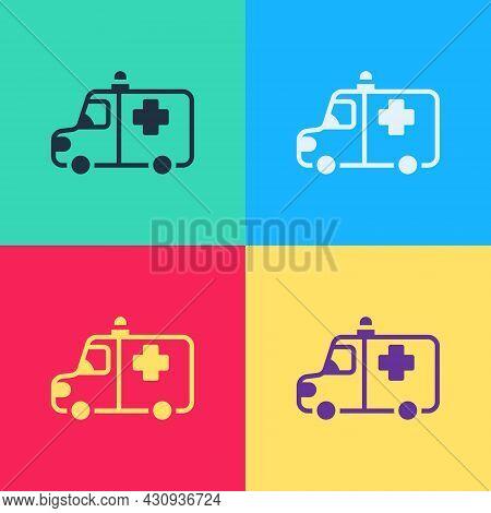 Pop Art Ambulance And Emergency Car Icon Isolated On Color Background. Ambulance Vehicle Medical Eva