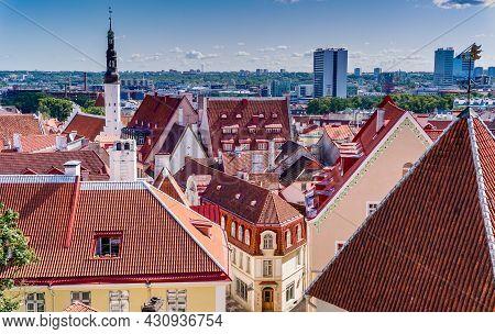 Tallinn, Estonia: 6 August, 2021: Cityscape And Skyline Of The Historic Old City Center Of Tallinn I
