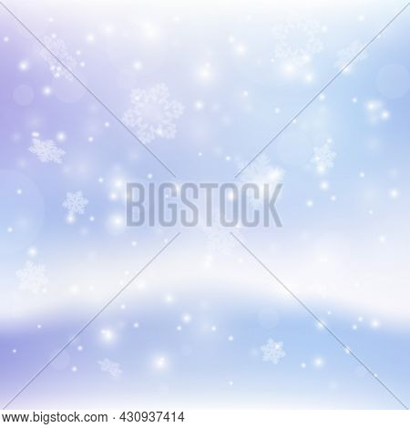 Abstract Xmas Backdrop For Your Text And Design. New Year Eve And Christmas Background With Snowflak