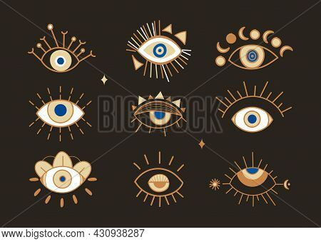 Evil Eye Abstract Set. Stickers With Magical Attributes That Protect Person. Design Elements For Pos