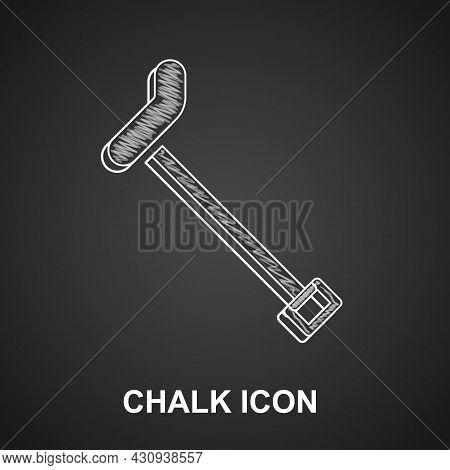 Chalk Walking Stick Cane Icon Isolated On Black Background. Vector