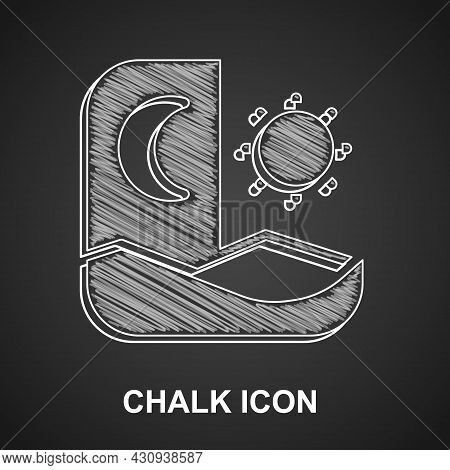 Chalk Ramadan Fasting Icon Isolated On Black Background. Fast Day And Night. Religious Fasting. Vect