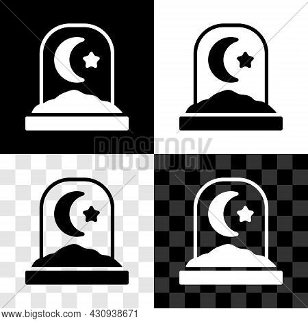 Set Muslim Cemetery Icon Isolated On Black And White, Transparent Background. Islamic Gravestone. Ve