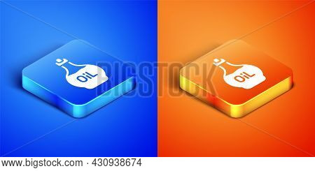 Isometric Essential Oil Bottle Icon Isolated On Blue And Orange Background. Organic Aromatherapy Ess