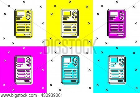 Set Paper Or Financial Check Icon Isolated On Color Background. Paper Print Check, Shop Receipt Or B