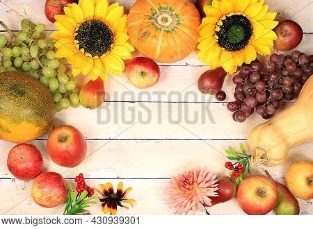 Thanksgiving Background, Harvest Concept, Autumn Composition With Fruits, Nature Berries, Watermelon
