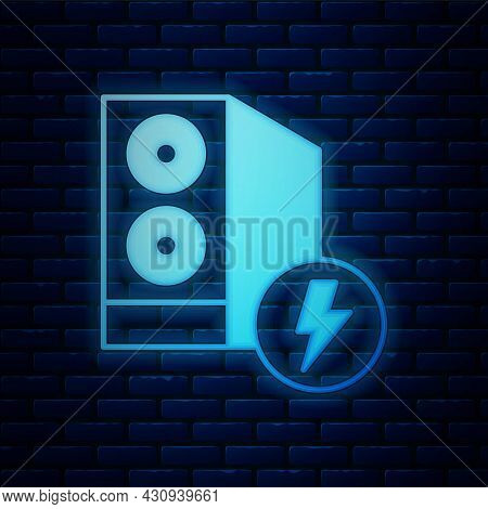 Glowing Neon Case Of Computer Icon Isolated On Brick Wall Background. Computer Server. Workstation.