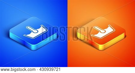 Isometric Temperature Wash Icon Isolated On Blue And Orange Background. Temperature Wash. Square But