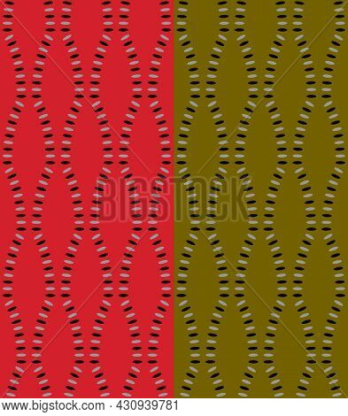 Ellipse Dots Ornaments Vertical Seamless Pattern. Curved Line, Geometrical Grid Structure Of Black,