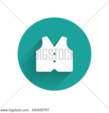 White Waistcoat Icon Isolated With Long Shadow Background. Classic Vest. Formal Wear For Men. Green