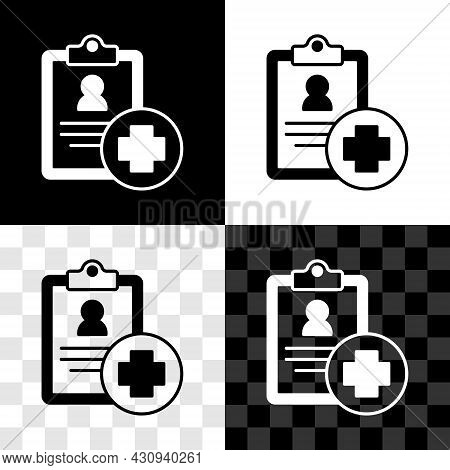 Set Medical Clipboard With Clinical Record Icon Isolated On Black And White, Transparent Background.