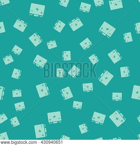 Green Car Battery Icon Isolated Seamless Pattern On Green Background. Accumulator Battery Energy Pow