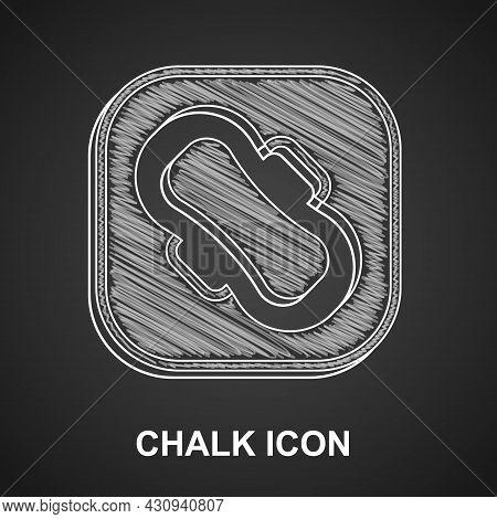 Chalk Menstruation And Sanitary Napkin Icon Isolated On Black Background. Feminine Hygiene Product.