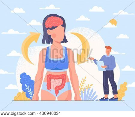 Neurohumoral Regulation Of Digestive System. Brain Affects Functioning Of Stomach And Intestines And