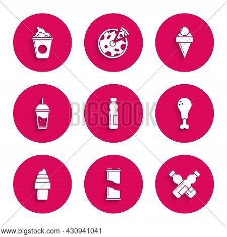 Set Bottle Of Water, Soda Can, Crossed Bottle, Chicken Leg, Ice Cream In Waffle Cone, Glass Lemonade
