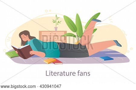 Literature As Hobby Concept. Female Character Lying On Floor Surrounded By Books. Reading Novels, Po